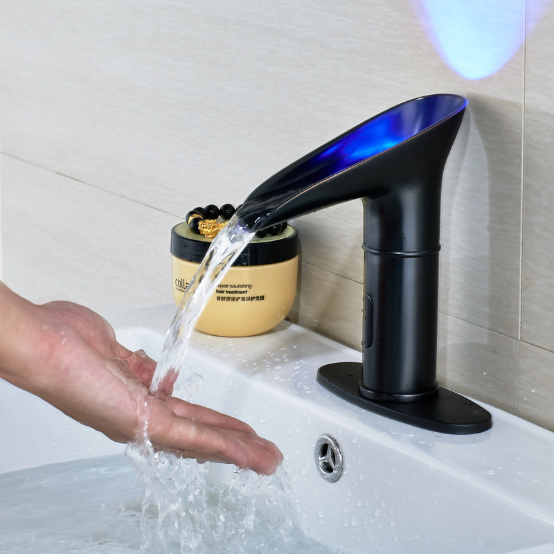 Alamere Touchless Oil Rubbed Bronze Led Bathroom Sink Faucet With Motion Sensor Funitic
