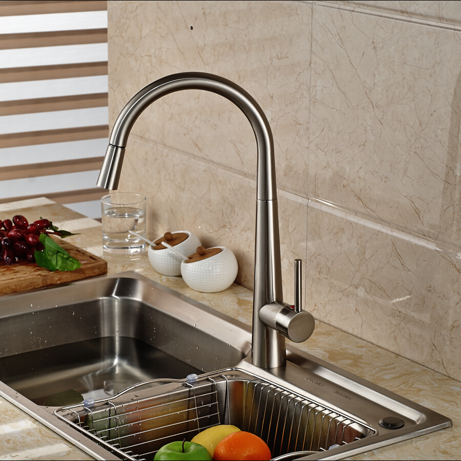 kitchen sink finishes amoskeag brushed nickel finish kitchen sink faucet with 2707