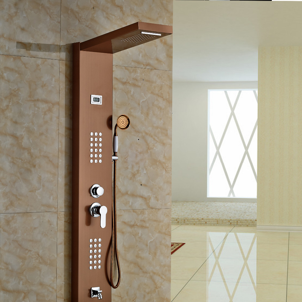 Aspen Rose Gold Massage Shower Panel System with Shower Head ...