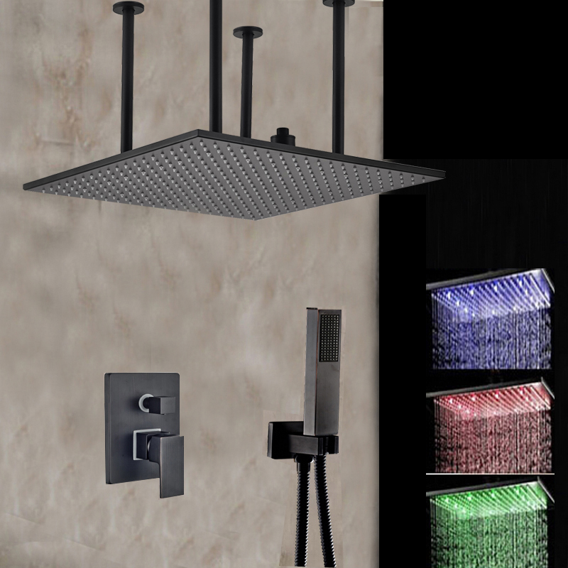 oil rubbed bronze led rain shower head. Buzzard 20  Oil Rubbed Bronze Hot Cold Water LED RainFall Shower Set with Handheld Showers Archives Funitic