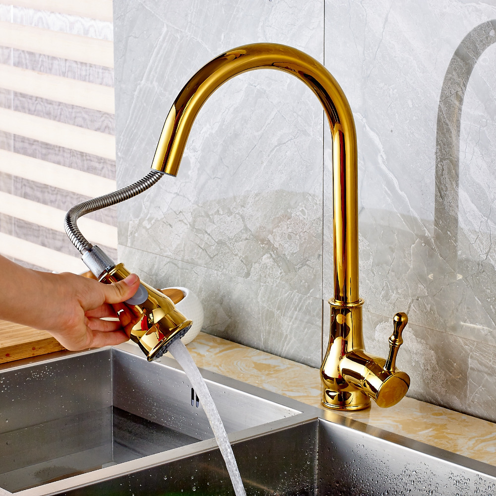 Calypso golden kitchen sink faucet with pull out sprayer - Kitchen sink sprayers ...