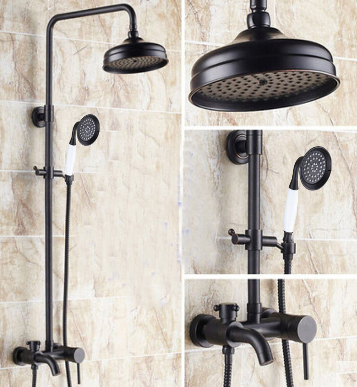 cascades oil rubbed bronze wall mounted rainfall shower head with handheld shower tub spout. Black Bedroom Furniture Sets. Home Design Ideas