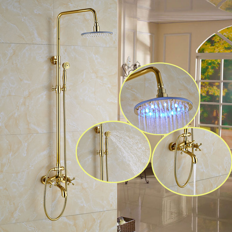 Catawba Gold Finish Wall Mounted Round LED RainFall Shower Head With  Handheld Shower U0026 Tub Spout