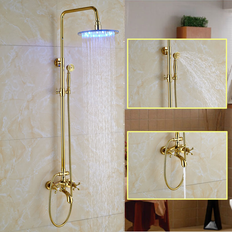 Catawba Gold Finish Wall Mounted Round LED RainFall Shower Set ...