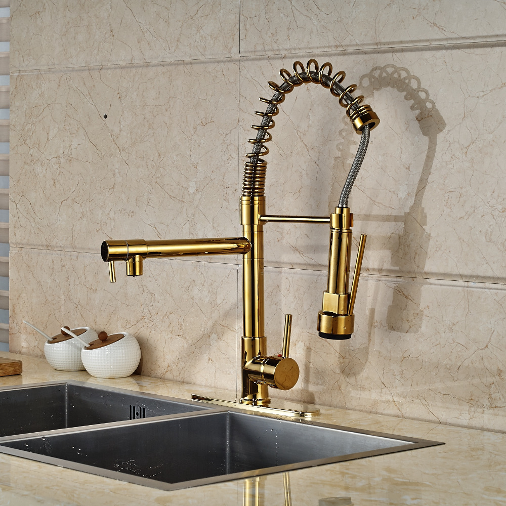 Cornet Gold Finish Kitchen Sink Faucet With Dual Spouts