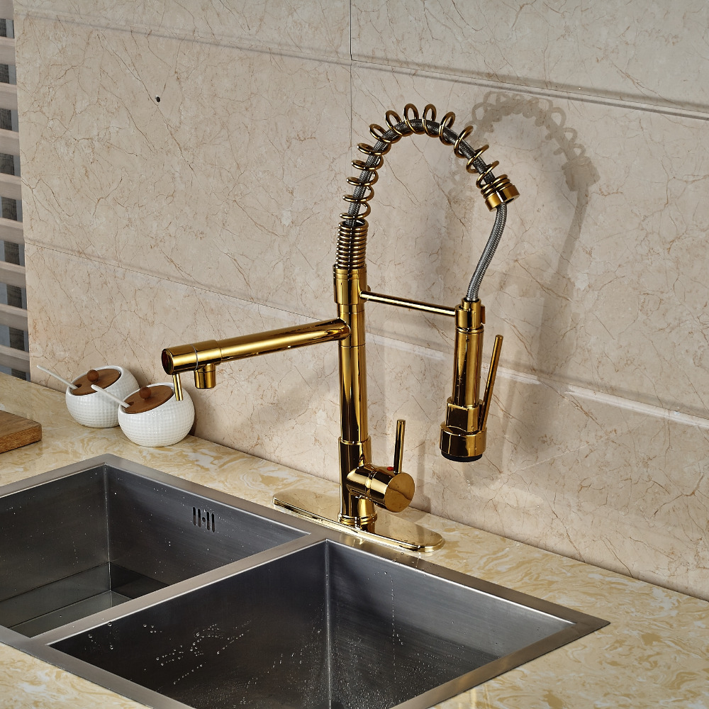 Cornet Gold Finish Kitchen Sink Faucet With Dual Spouts Cover