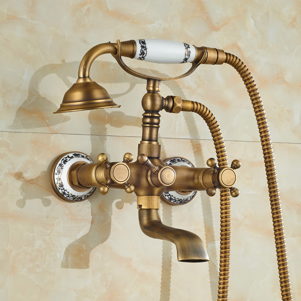 Cullasaja Antique Brass Finish Telephone Hand Shower with Bathtub ...