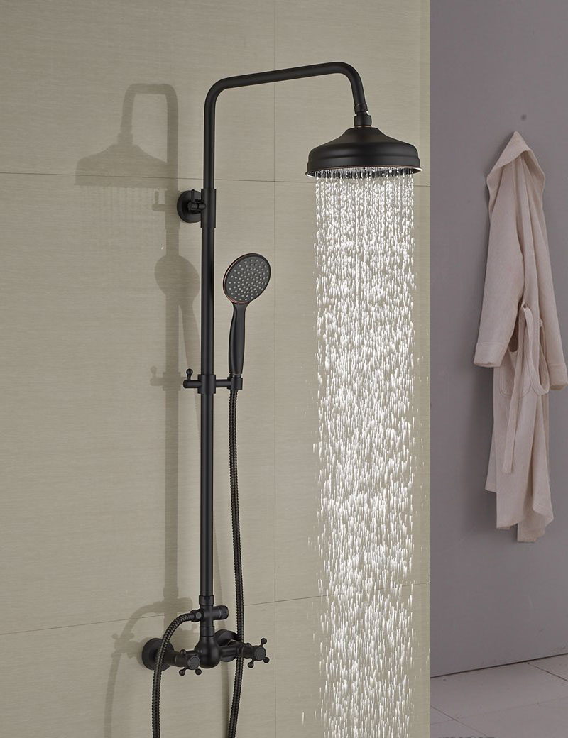Douglas Oil Rubbed Bronze Wall Mounted Rainfall Showerset With Over Head Shower Handheld Shower