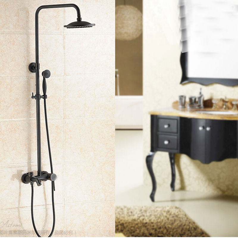 Glen Oil Rubbed Bronze Wall Mounted Rainfall Shower Head With Handheld Shower Amp Tub Spout Funitic