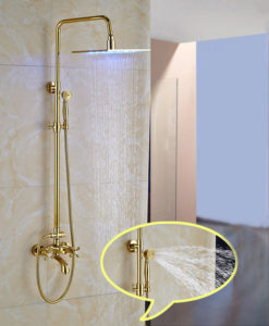 gold rain shower head. Hickory Gold Finish Wall Mounted 10 Square LED  Nooksack Mount Exposed Rainfall Shower System with Luxury