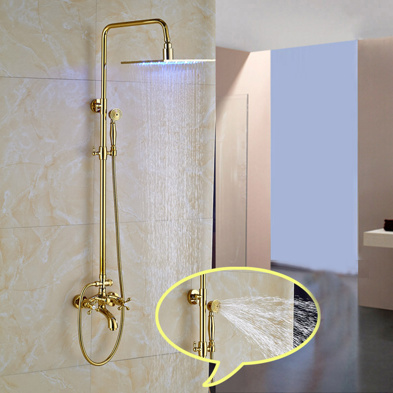 Hickory Gold Finish Wall Mounted 10 Square LED RainFall Shower ...