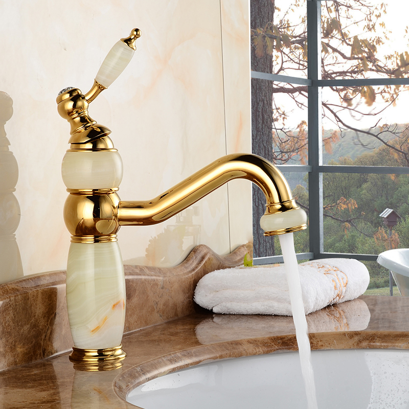 7 Faucet Finishes For Fabulous Bathrooms: Kahiwa Jade & Gold Finish Bathroom Sink Faucet