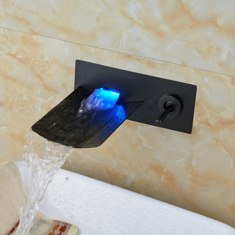 Limekiln Wall Mounted Water Fall Led Bathroom Sink Faucet