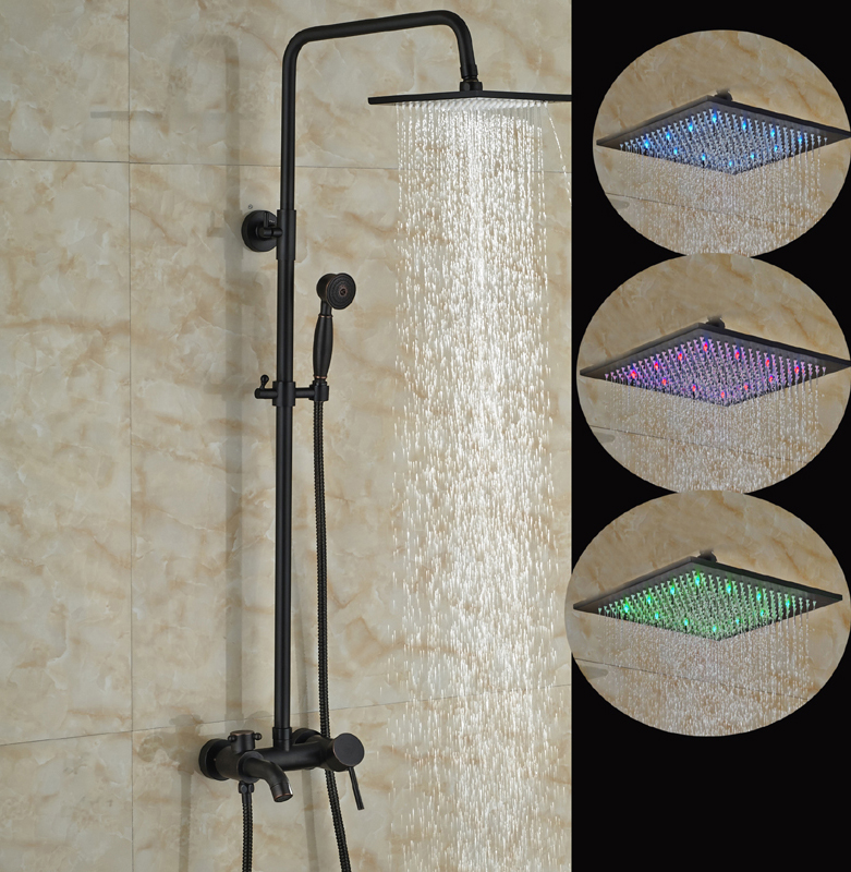 Linville Oil Rubbed Bronze Wall Mounted Square Hot Cold Water Led Rainfall Shower Head With