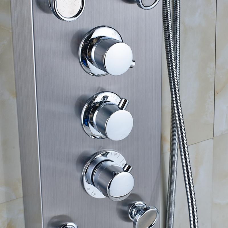 mcelmo chrome finish massage shower panel system with shower head hand held shower u0026 body