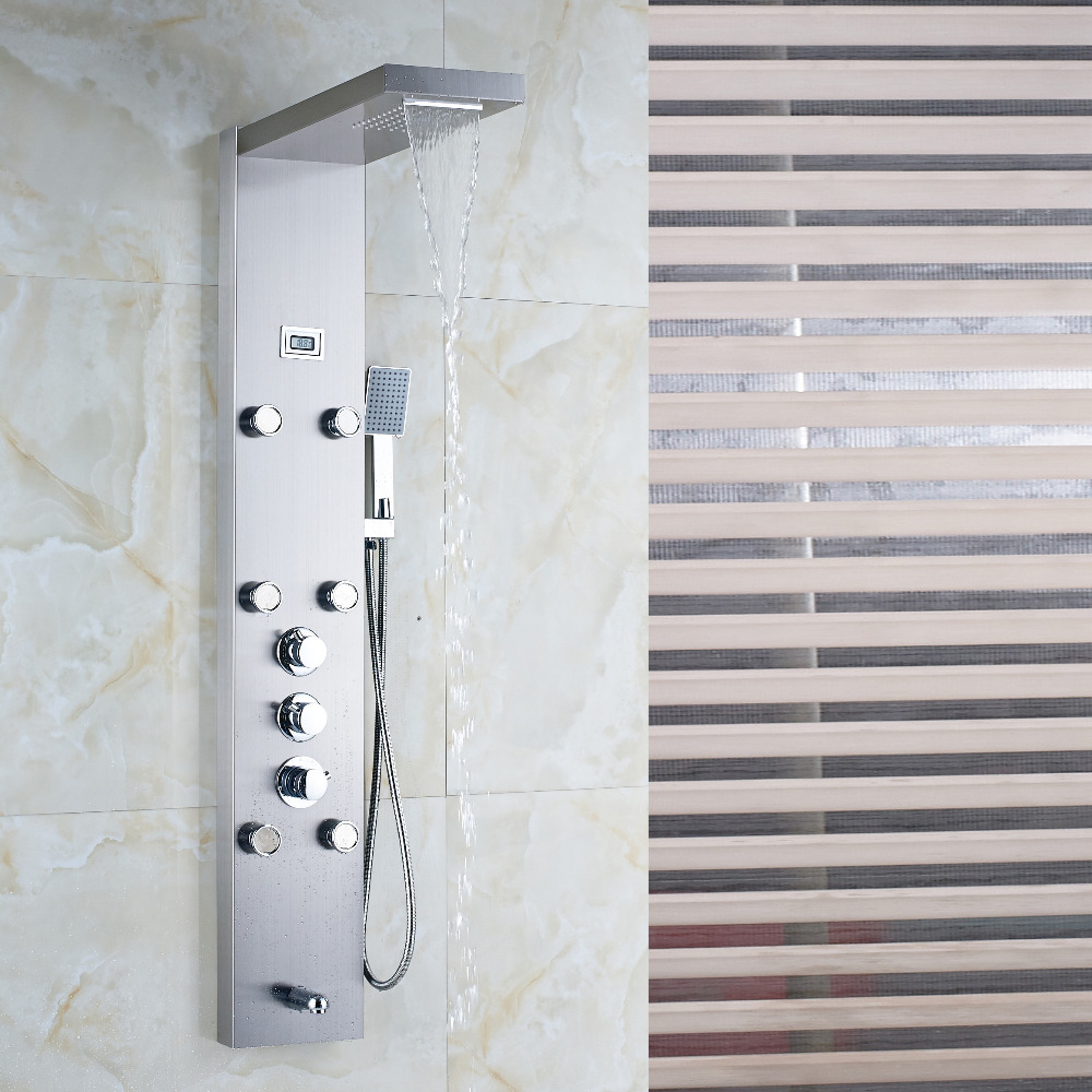McElmo Chrome Finish Massage Shower Panel System with Shower Head ...