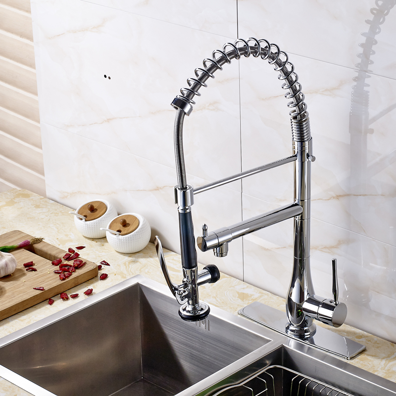 Minneopa Chrome Finish Dual Spout Kitchen Sink Faucet With