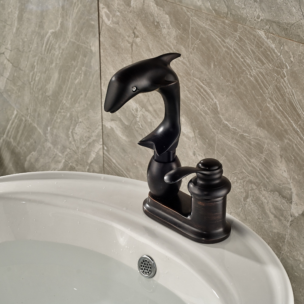 Moxie deck mounted dolphin oil rubbed bronze bathroom sink faucet funitic - Dolphin faucets ...