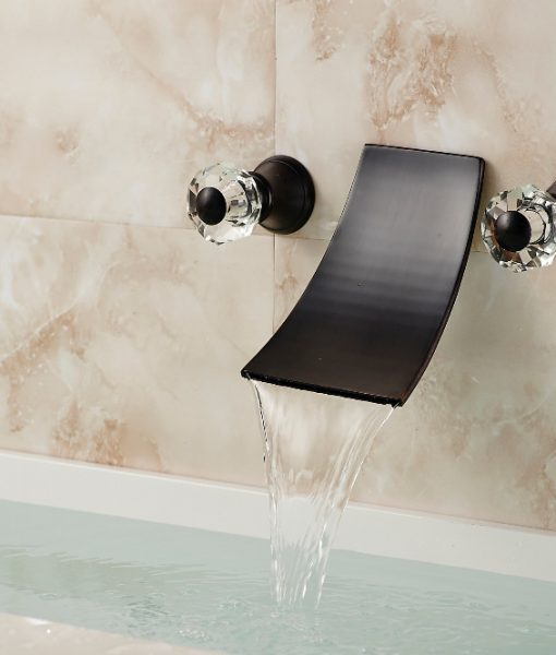 Oneonta Wall Mounted Dual Handle Oil Rubbed Bronze Waterfall Bathroom Sink Faucet with Hot & Cold Water Mixer