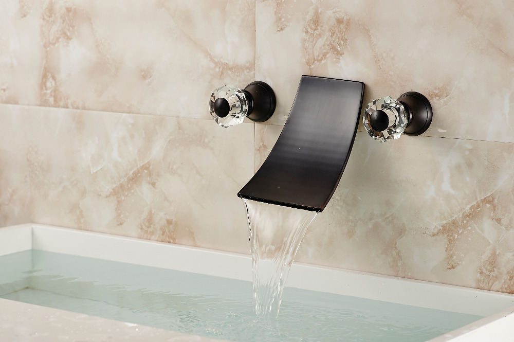 Oneonta Wall Mounted Dual Handle Oil Rubbed Bronze Waterfall ...