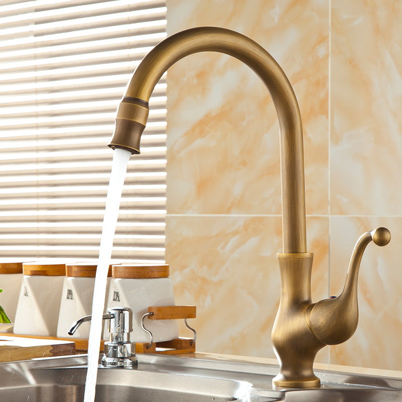 Saguache Antique Brass Single Handle Kitchen Sink Faucet Funitic