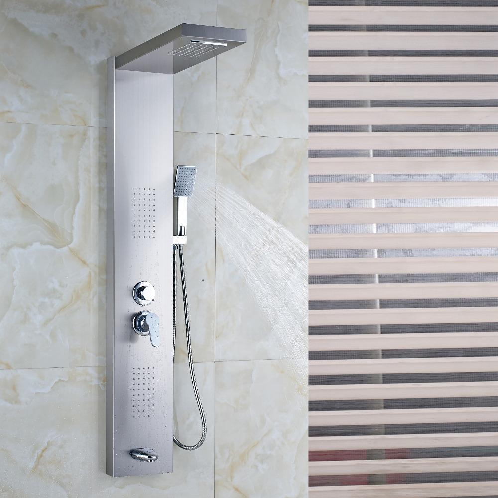 Sentinel Brushed Nickel Massage Shower Panel System With