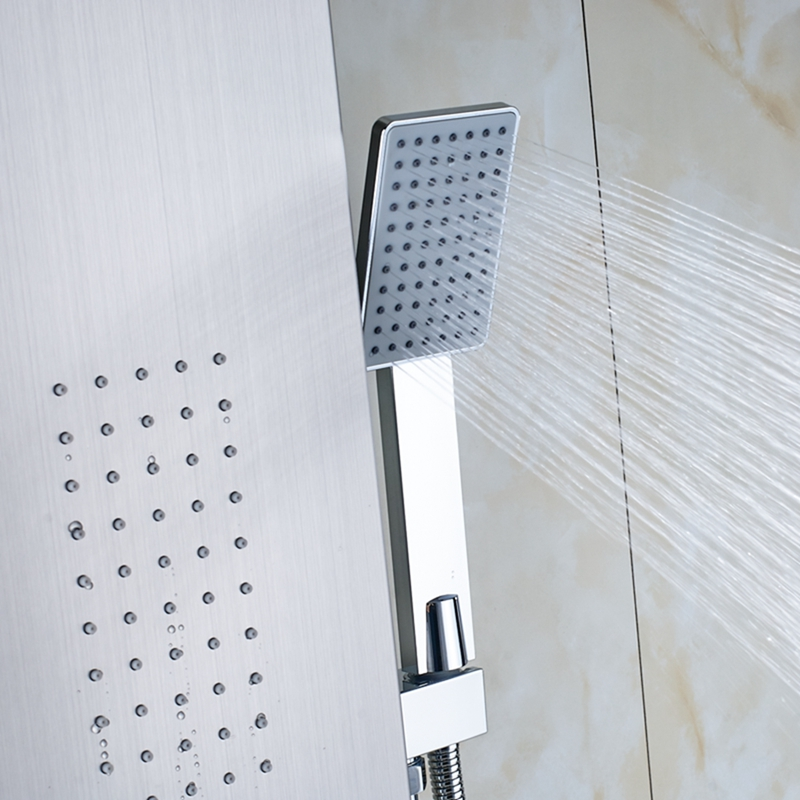 sentinel brushed nickel massage shower panel system with shower head u0026 body massage jets