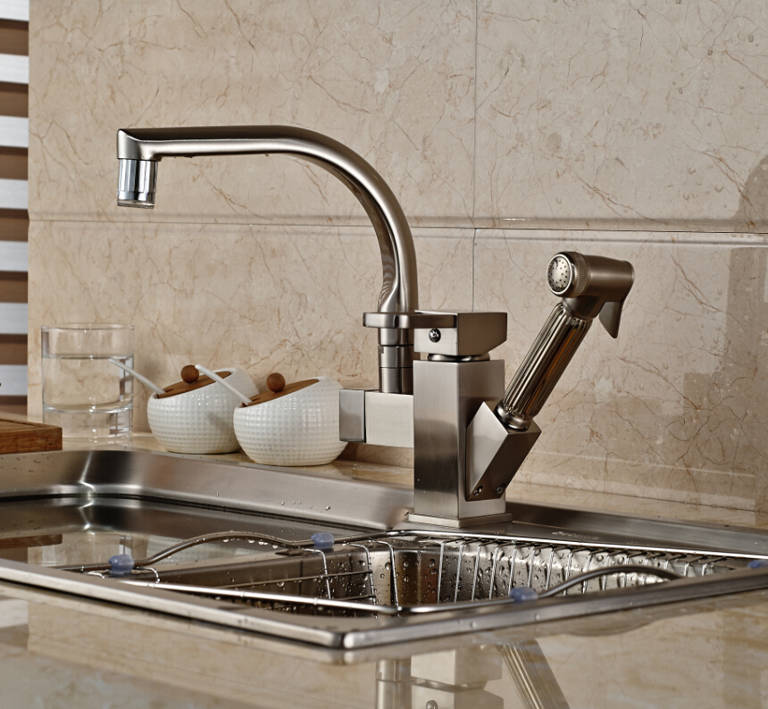 Shades Brushed Nickel Kitchen Sink Faucet With Pullout Sprayer Funitic