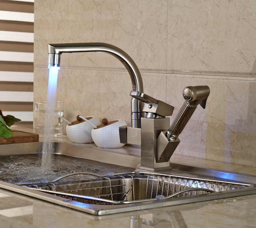 Shades Brushed Nickel Kitchen Sink Faucet with Pullout Sprayer ...