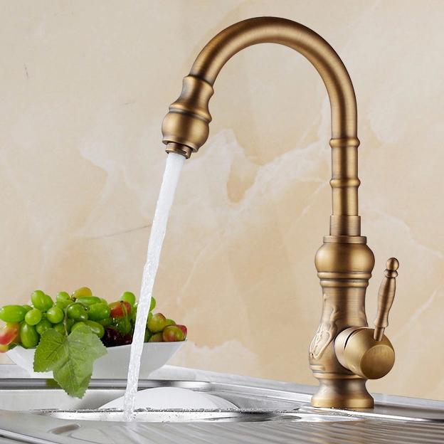 Trinchera Antique Brass Single Handle Kitchen Sink Faucet Funitic