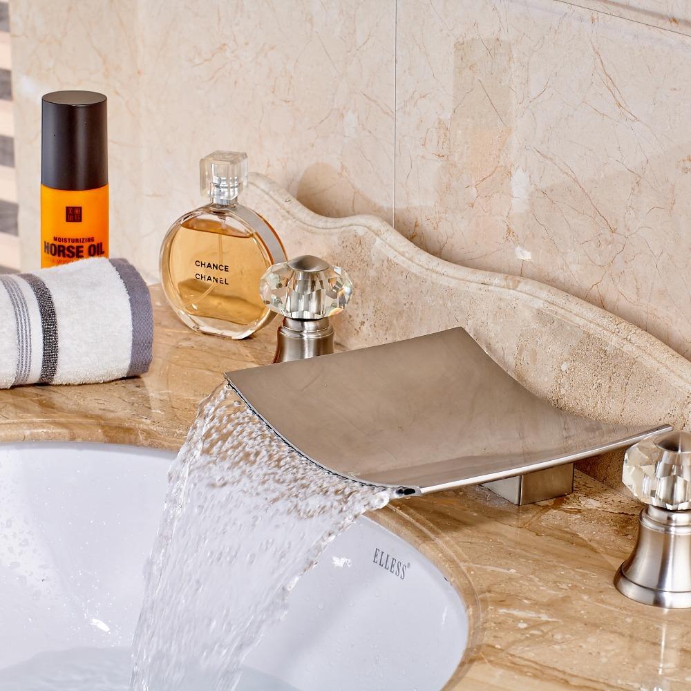 Waterfall bathroom sink - Wahkeena Deck Mounted Dual Handle Brushed Nickel Waterfall Bathroom Sink