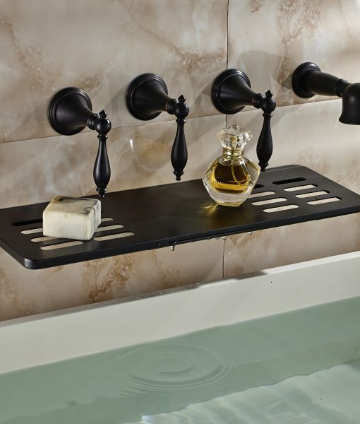 Waihilau Oil Rubbed Bronze Finish Water Fall BathTub Faucet with Soap Dish Holder & Hand Shower 1