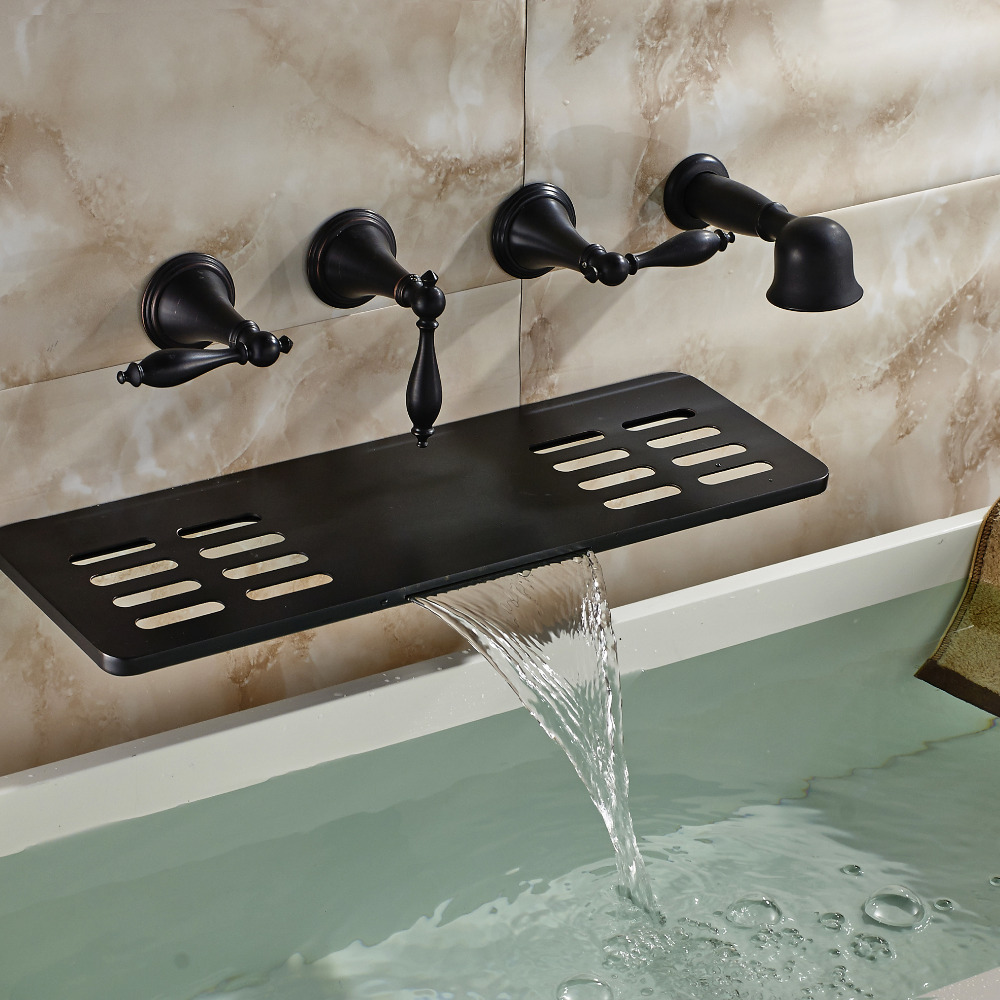 waihilau oil rubbed bronze finish water fall bathtub faucet with soap dish holder hand shower. Black Bedroom Furniture Sets. Home Design Ideas