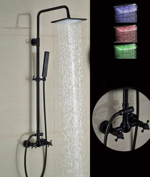 walker oil rubbed bronze wall mounted 8 square hot cold water led rainfall shower head with. Black Bedroom Furniture Sets. Home Design Ideas