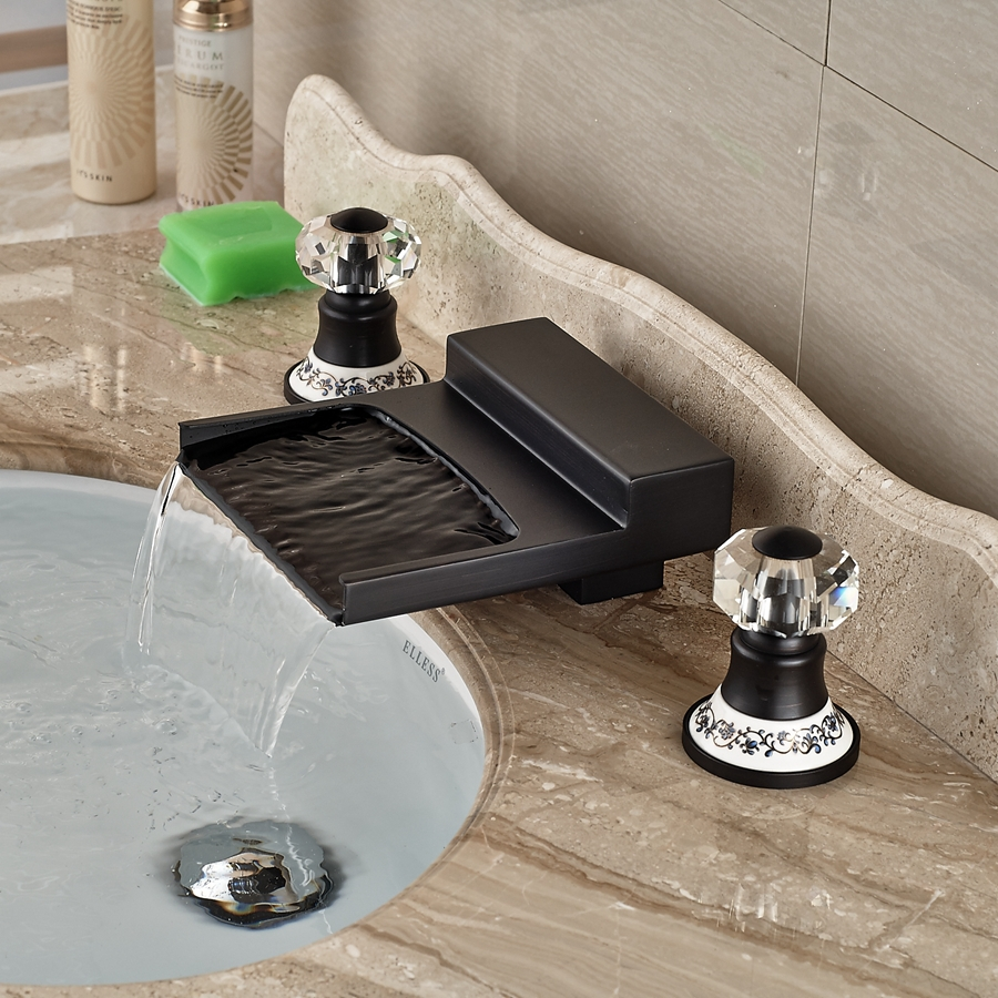 Yakso dual handle oil rubbed bronze water fall bathroom sink faucet with hot cold water mixer for Oil rubbed bronze bathroom faucets