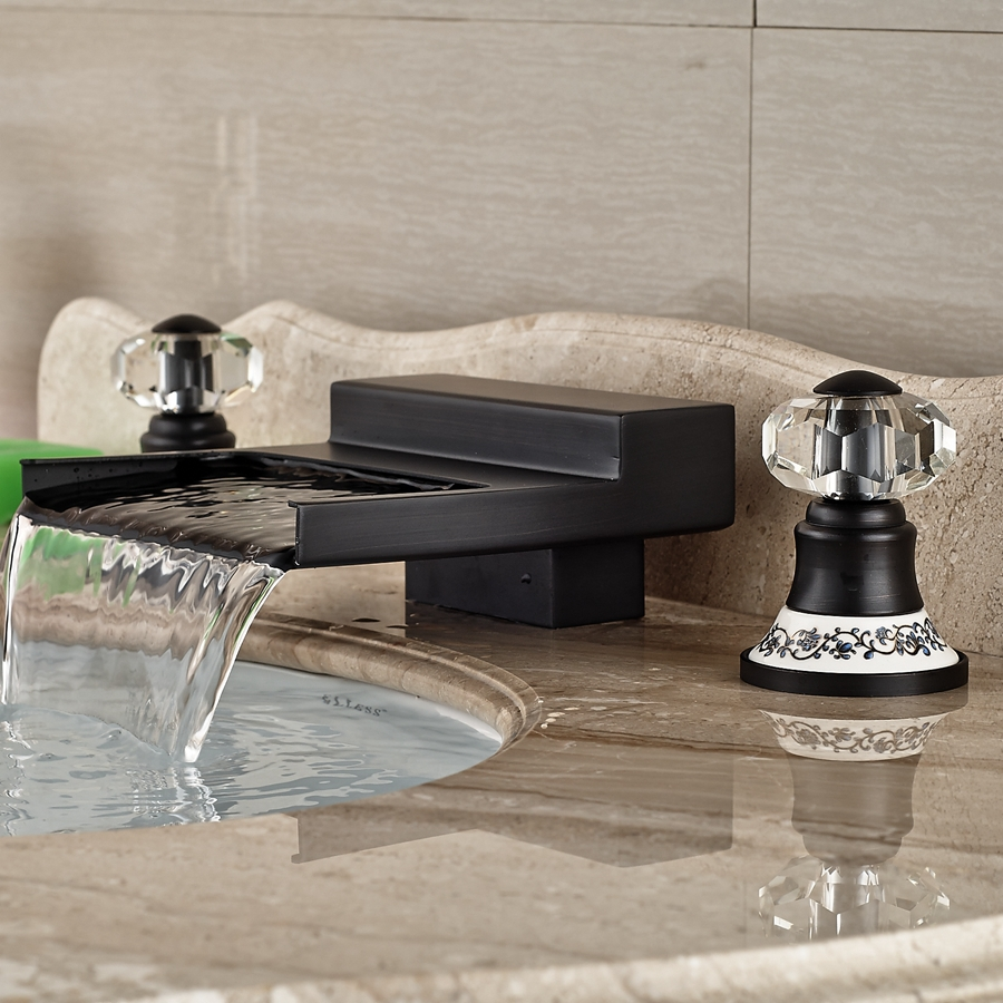 dual faucet bathroom sink yakso dual handle rubbed bronze water fall bathroom 18222