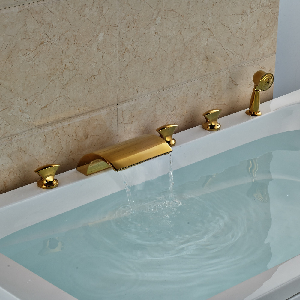 Buy Hamilton Deck Mount Triple Handle 5 Piece Bathtub Waterfall Faucet With  Hand Shower