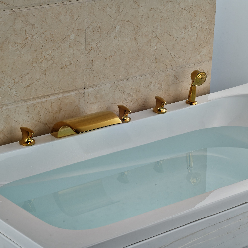 Buy Hamilton Deck Mount Triple Handle 5 Piece Bathtub Waterfall ...