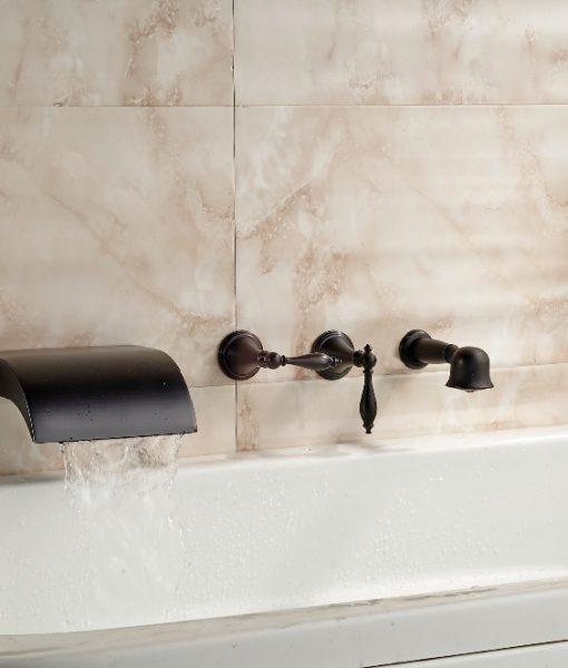 buy pedernales wall mount three handle 5 piece bathtub waterfall faucet with hand shower u0026 hot
