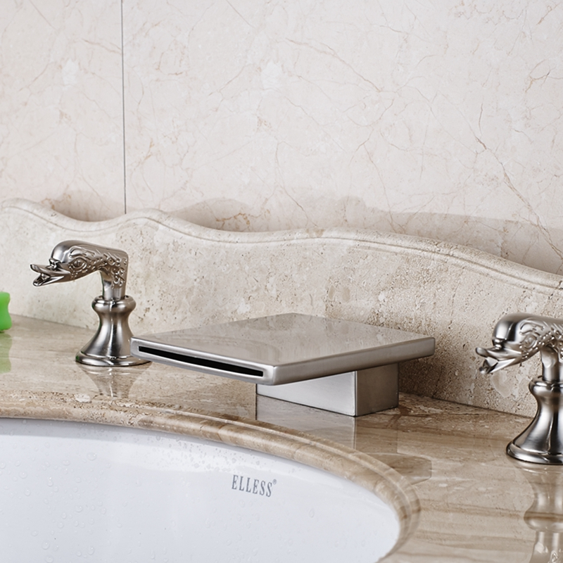 Conewago Deck Mounted Dual Handle Brushed Nickel Waterfall Bathroom Sink  Faucet With Hot U0026 Cold Water