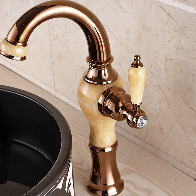 Fulmer Single Handle Luxury Rose Gold Brass Ceramic Bathroom Sink Faucet With Hot Cold Mixer