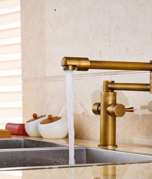 Glendale Deck-Mounted Antique Brass Dual Handle Pot Filler Kitchen Faucet 6