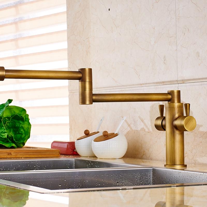 Cane Deck Mounted Antique Brass Dual Handle Pot Filler