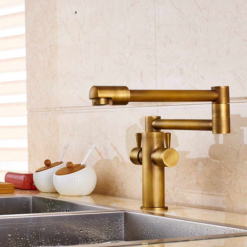 Cane Deck-Mounted Antique Brass Dual Handle Pot Filler Kitchen Faucet