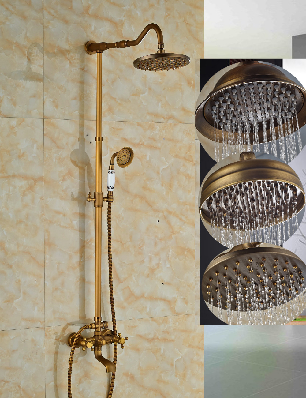 Scudders Antique Brass Finish Wall Mounted Rainfall Shower Set With Handheld Shower Tub Spout