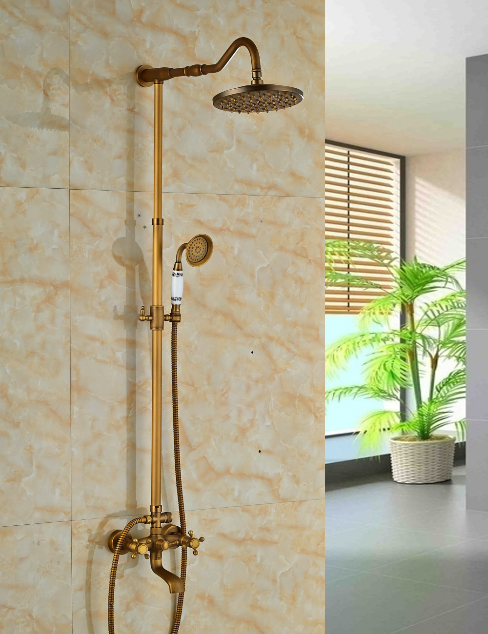 Scudders Antique Brass Finish Wall Mounted RainFall Shower Set ...