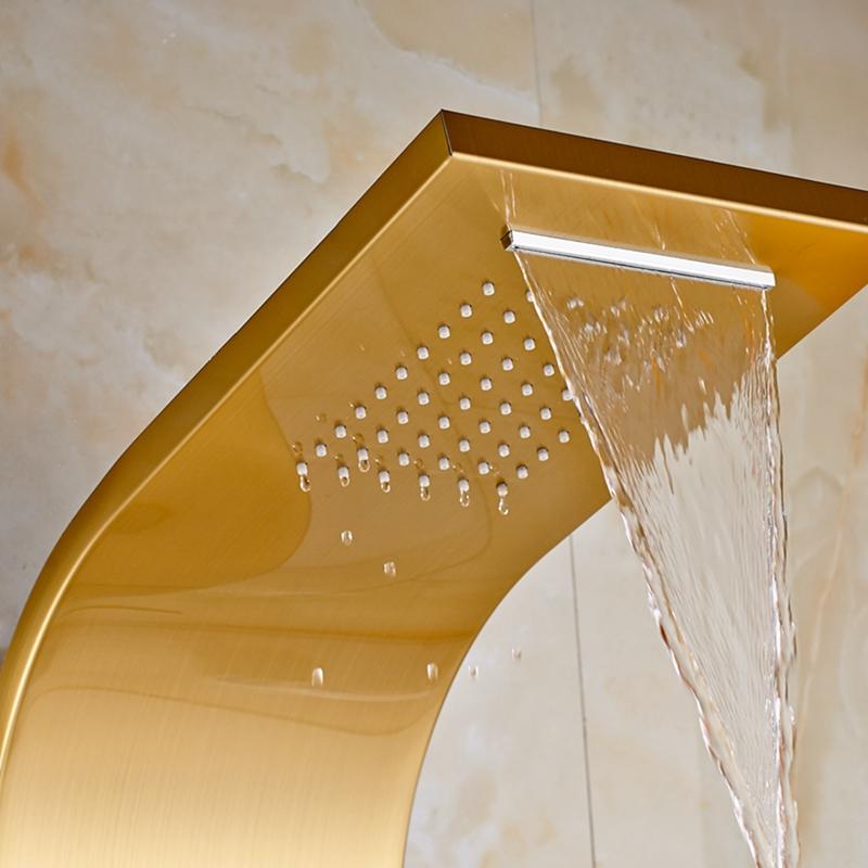 gold finish massage shower panel system with rainfall u0026 waterfall showerhead handshower u0026 body