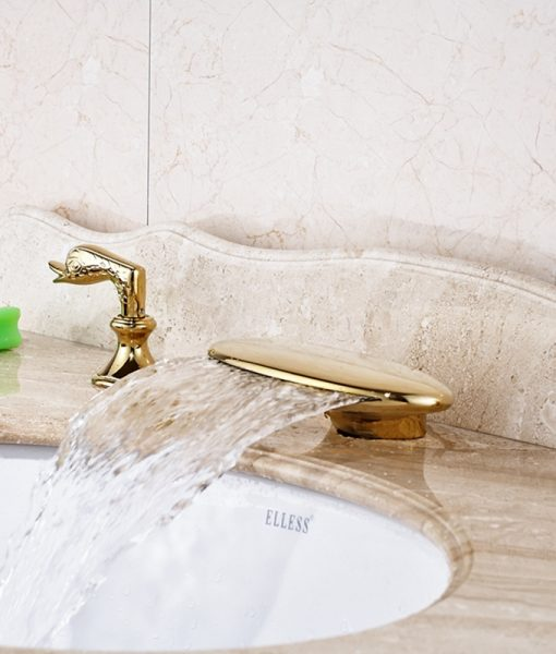 Wallalute Deck Mounted Dual Handle Gold Waterfall Bathroom Sink Faucet with Hot & Cold Water Mixer 1