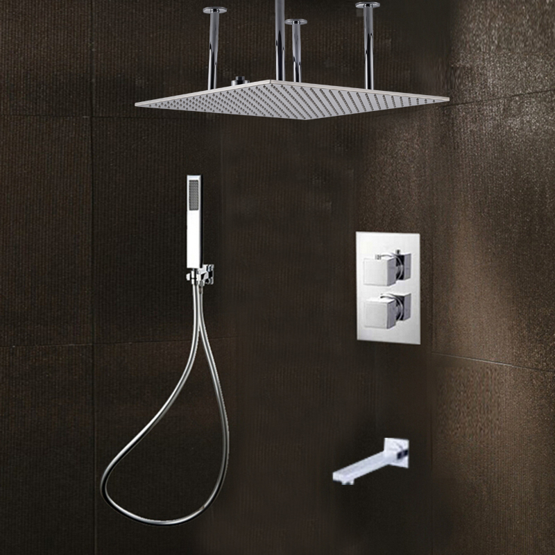 Shower Faucets Bathtub Waterfall Shower Head Wall Mount Panel Mixer Wall Mounted Message Shower Set With Hand Shower Bathroom Shower Set