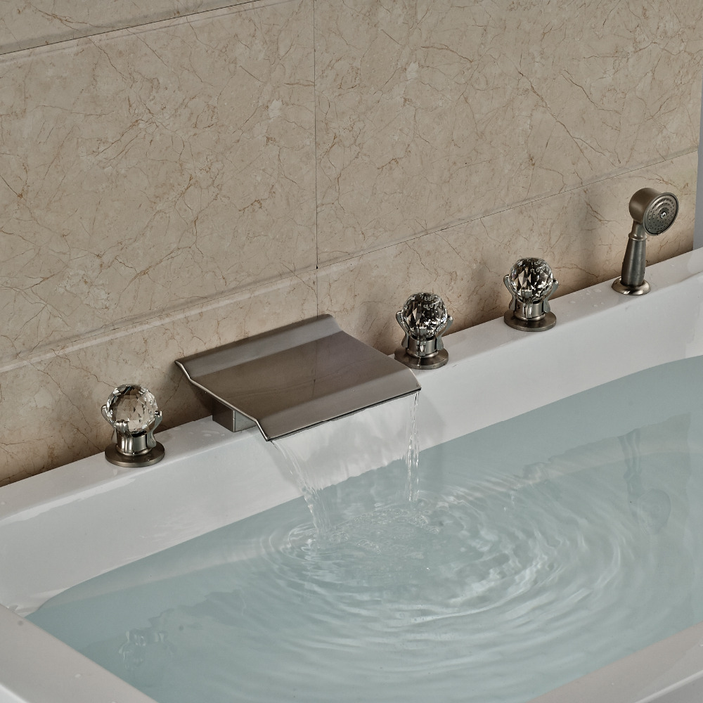 Buy Now Jordan 5 Hole Deck Mount Brushed Nickel Bathtub Shower ...